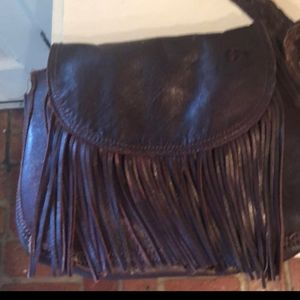 Leather fringe crossbody bag